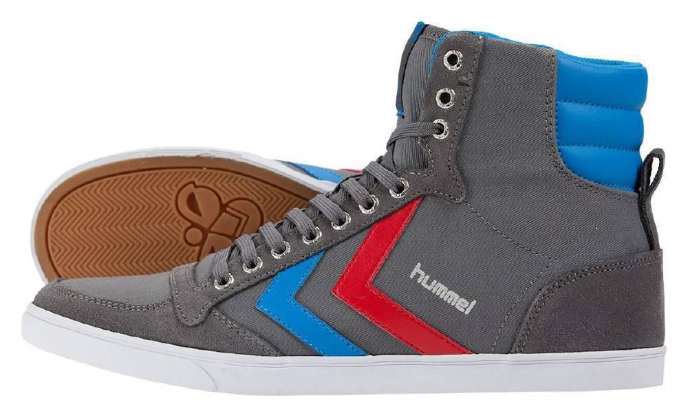 Hummel Slimmer Stadil High Canvas Sneaker Schuhe grau-rot-blau NEU 53681