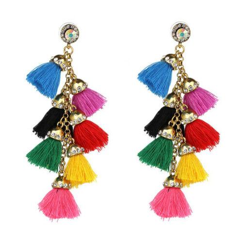 1Pair Bohemian Colorful Long Tassel Rhinestone Dangle Earrings Ear Stud Jewelry