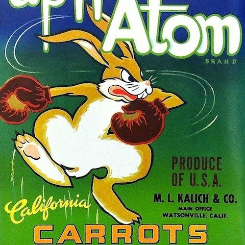Vintage Original Upn/' Atom CARROTS Vegetable Carrot Crate Box Label 1950s NOS