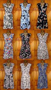 NEW-DOROTHY-PERKINS-BLACK-CREAM-BLUE-WHITE-SUMMER-WRAP-DRESS-VINTAGE-50s-STYLE