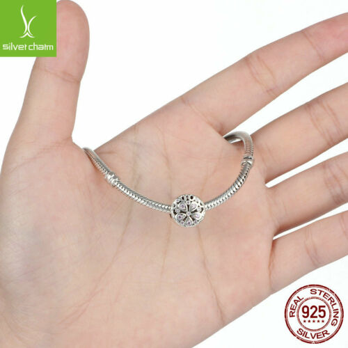 Authentic Sterling 925 Cristal Rose Fleur Perle Charm Fit Women Do it yourself argent chaîne