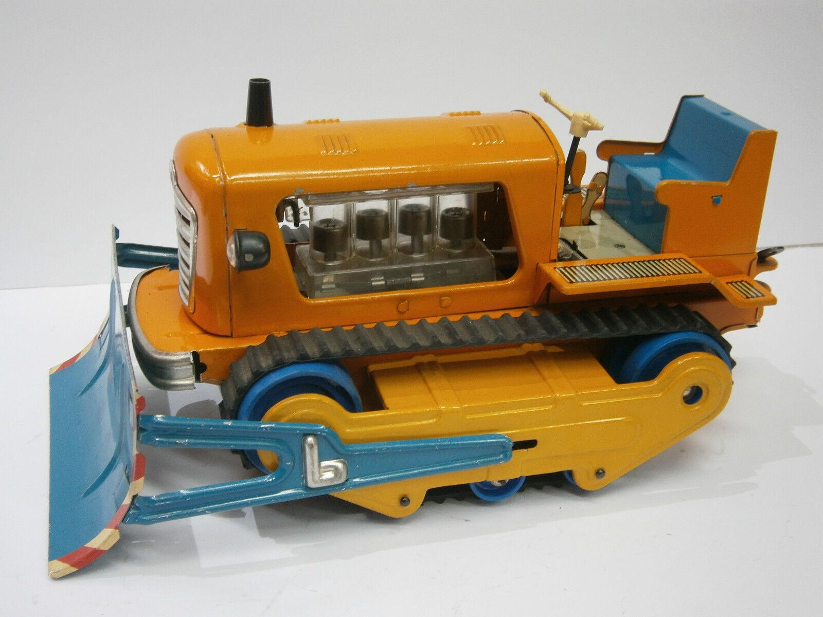 VINTAGE RARE DDR GERMAN BATTERY TOY TIN CAR BULLDOZER BAGGER TRACTOR -  MS Veb