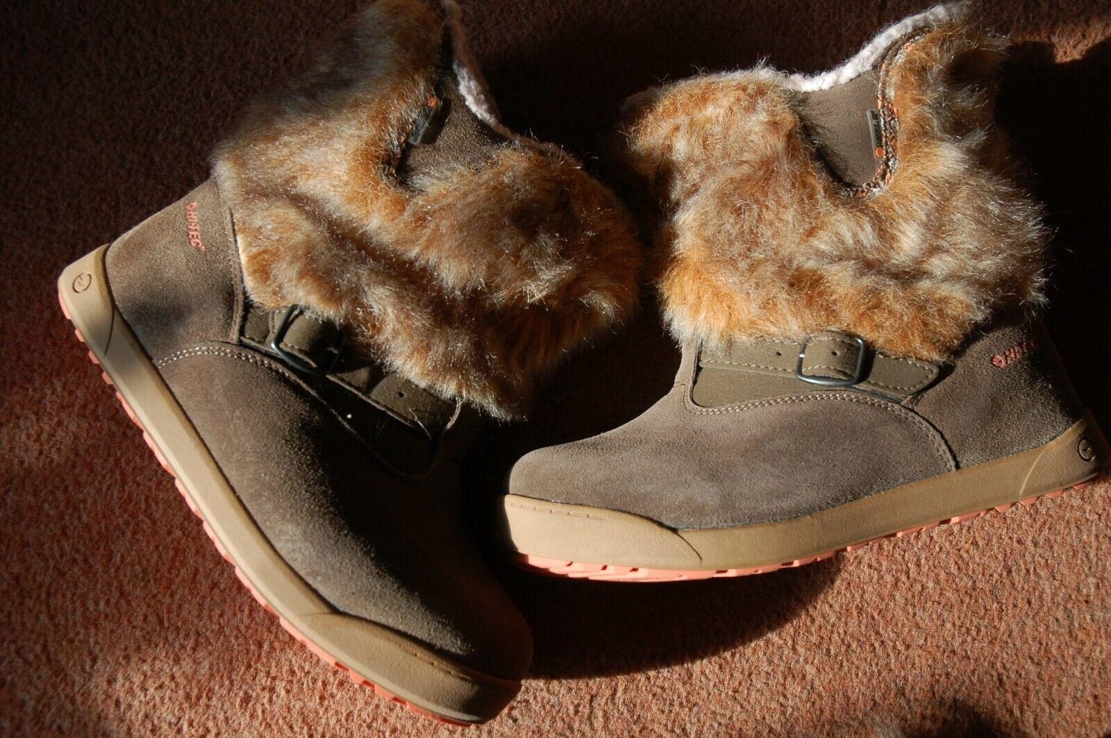 New UK 5 Hi-tec Fur Lined Suede Boots With Faux Fur Cuff Zip Backs Big-Fit