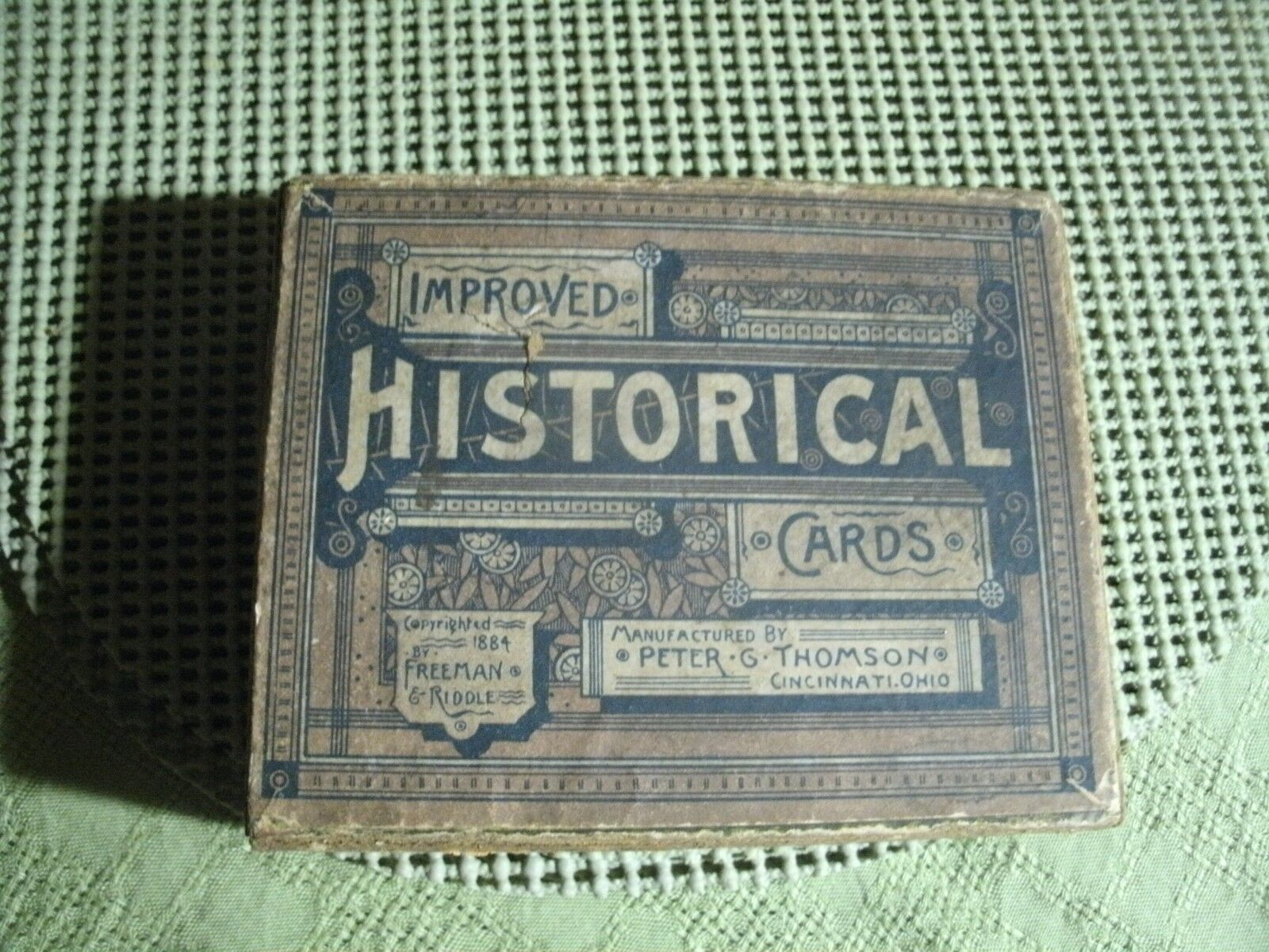 2 W    Antique Freeman & Riddle Improved Historical Cards Game & Box 1884