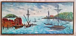 Framed-Folk-Art-Coastal-Harbor-Scene-Sailboats-Wharf-Buildings-Oil-on-Canvass