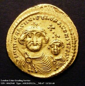 616-625 Ad Héraclius Or Solidus, Erreur De Monnaie, Sear 738 Cgs 40-afficher Le Titre D'origine