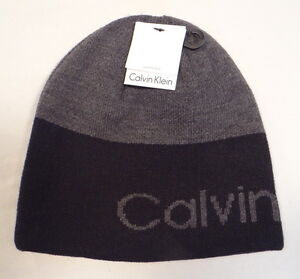 Calvin Klein Reversible Black   Gray Knit Beanie Skull Cap Adult One ... d4a55397e46