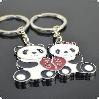 1 Pair Lover Gift Panda Couple Keyring Keyfob Valentine's Day Keychain Ring New
