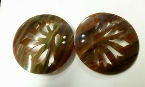 2-Piece-Vintage-Art-Deco-Bakelite-Belt-Buckle-Brown