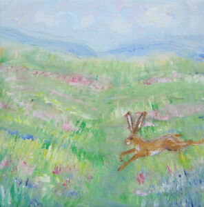 Wild-Brown-Hare-High-in-the-Hills-an-original-painting-on-canvas-by-Jenny-Hare