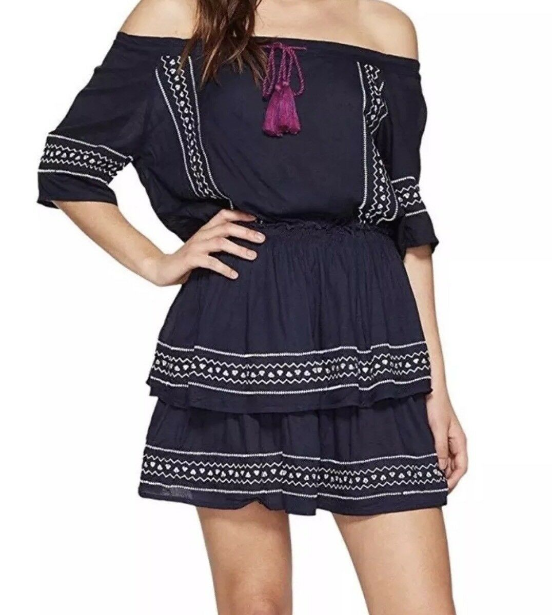 Romeo & Juliet Couture Peasant Off Shoulder Medium Navy bluee Dress