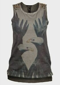 Womens-studded-Sleeveless-Top-T-shirt-Eagle-print-Raw-edge-punk-goth-emo