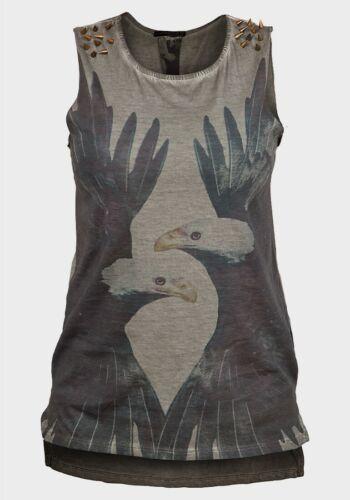 Bottines femme cloutées haut sans manches T-shirt Eagle Print Raw Edge Punk Goth Emo