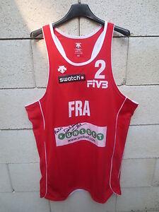 Maillot-porte-Equipe-de-FRANCE-Beach-Volley-Descente-shirt-rouge-dedicace-XXL