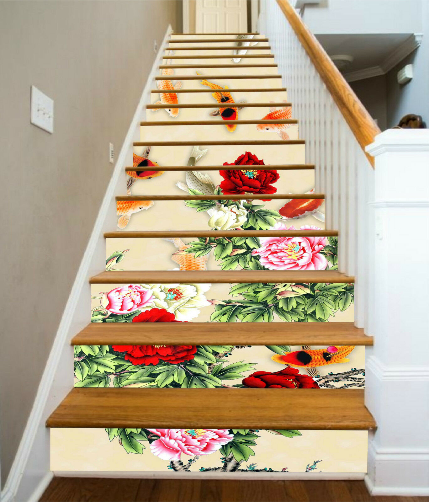 3D Blume Karpfen 37 Stair Risers Dekoration Fototapete Vinyl Aufkleber Tapete DE