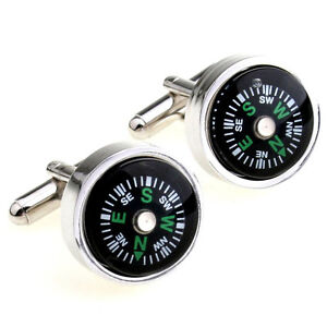 NEW-Compass-Cufflinks-Great-Gift-Idea-Boating-Camping-Navigation