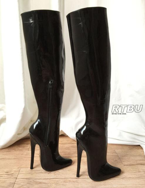 CHRIS 18cm SKINNY/STANDING LEG ONLY Stiletto Fetish Wet Shiny Patent Over knee