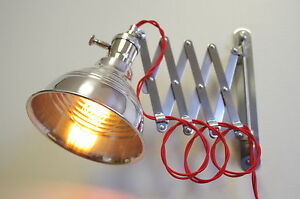 Wall Mounted Extension Lamps : Industrial Scissor Extension Wall Lamp Light - Gas Station Shade eBay