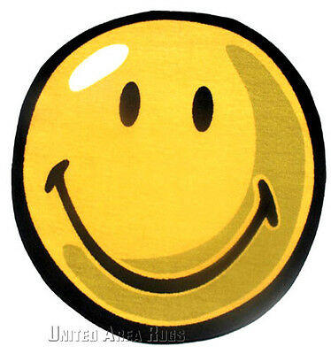 """3x3  Round  Rug  Happy Face  Smiley Face Yellow  Fun Emoji Size 39""""x39"""" New"""
