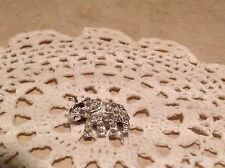 Costume Rhinestone Elephant Small Pin Silver Tone - FREE SHIP SHELTER FUNDRAISER