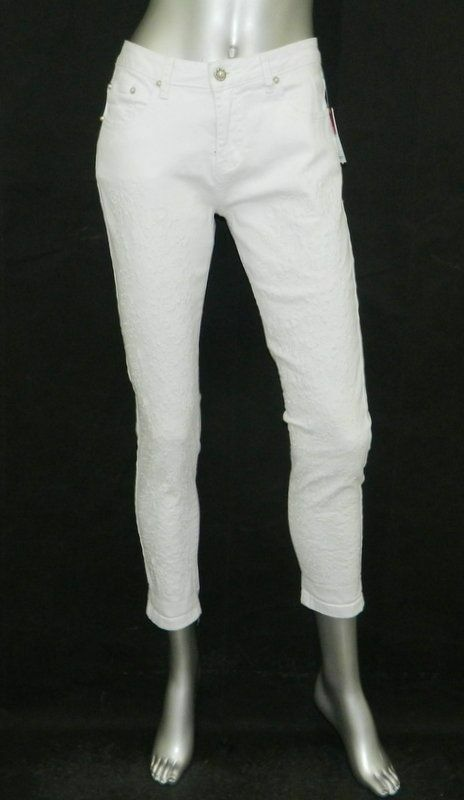 CRISTINA V NWT White Embroidered Flowers Skinny Tapered Ankle Jeans sz 6