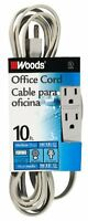 Woods 5607 10-foot 3-outlet Extension Cord, Gray, New, Free Shipping on sale