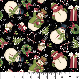 Christmas Winter Snowman *CHOOSE COLOUR* Snowflake Toss Sewing Quilting Fabric