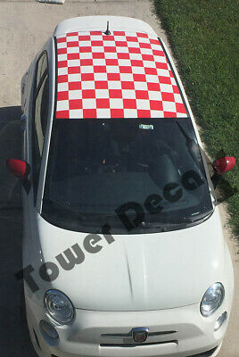 Punto 2010-2015 Checkered Roof Square Checkerboard Decals for Fiat Abarth 500