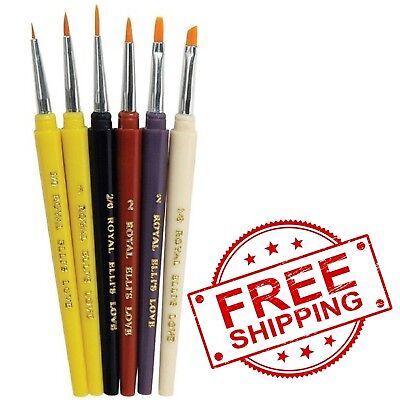 Assorted Size Royal Brush Soft Grip Round Golden Taklon Fiber Paint Brush Set Set of 5