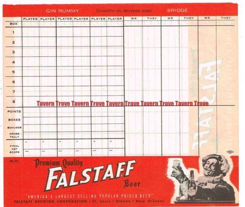 Scarce 1930s Falstaff Beer Gin Rummy Bridge Canasta Score Sheet 3 City