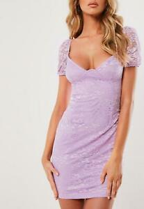 Missguided-Women-039-s-Lilac-Lace-Cup-Puff-Sleeve-Mini-Dress-Size-10-New-With-Tags