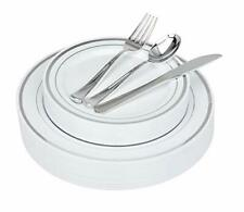 Fancy Disposable Plates With Cutlery 125 Piece Silver Plastic