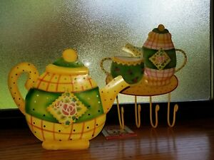 Mary-Engelbreit-Rose-Patch-Metal-Teapot-CandleHolder-Hanging-Hook-Lot-of-2-New