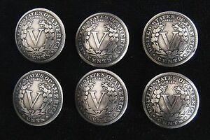 (6) LIBERTY V NICKEL CONCHO / BUTTONS (tails) 1021A