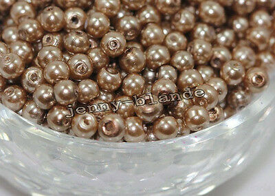 20-100 Round Glass Pearl Loose Spacer Bead Charm Finding Craft 4/6/8/10/12mm