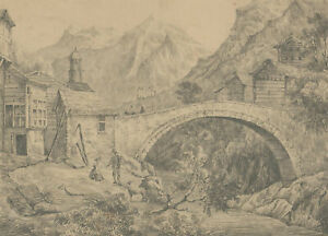 Late 19th Century Graphite Drawing - An Alpine Landscape
