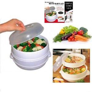 Micro vap envase para cocinar al vapor microondas cocina rapida sana sin grasa ebay - Cocina al vapor microondas ...