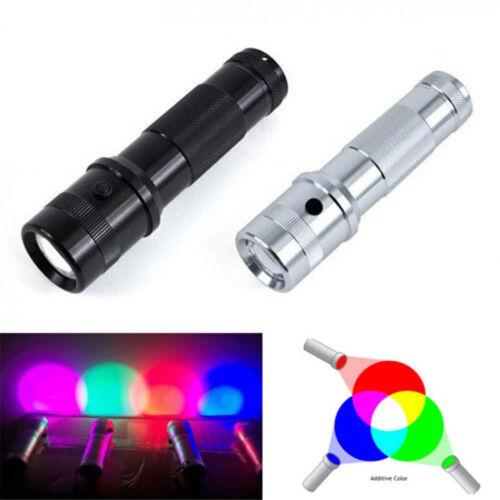 New 3W 10 Colors RGB LED Flashlight Color Changing Edison Light LED Torch