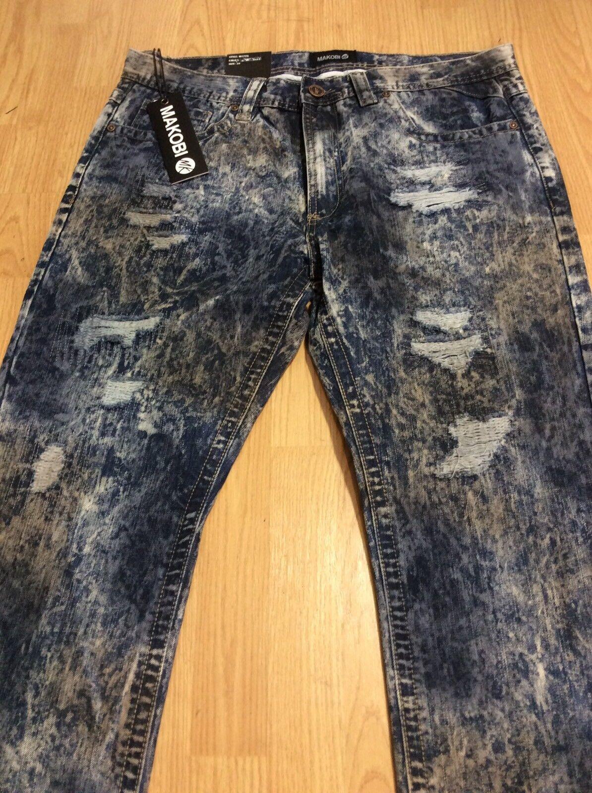 Men's Classic Denim Jeans Acid Wash DARK NAVY By MAKOBI New & Tags