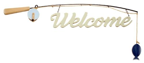 """Fishing Pole /'Welcome/' Fish Sign Wood Metal Wall Decor Home Cabin 34/"""" L NEW"""