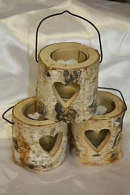 WOODEN RUSTIC ROUND BARK TEALIGHT CANDLE HOLDER WITH CUT OUT HEART DESIGN