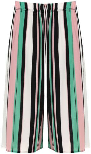 Da Donna Taglie Forti Stretch vita alta gamba larga Tri-Colore a Righe Stampa Culotte