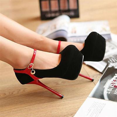 Hot women's Fashion Ankle Strappy Platform Pumps Sexy Stilettos High Heel Shoes