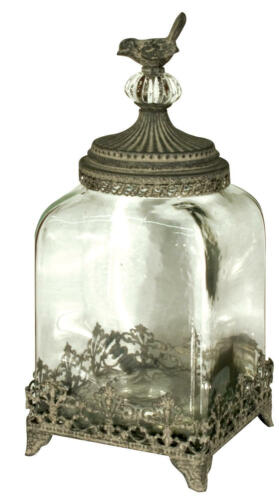 Shabby Chic Glass Bird Storage Jar Amp Lid Vintage Bird