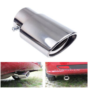 Car-Universal-Round-Silver-Stainless-Steel-Chrome-Exhaust-Tail-Muffler-Tip-Pipe