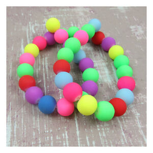 ROUND-VIBRANT-FLUORESCENT-NEON-RUBBERISED-COATED-BEADS-5-SIZES-JEWELLERY-CRAFT