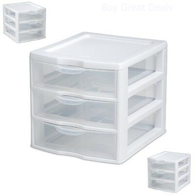 3 Drawer Storage Mini Organizer Unit Clear Plastic
