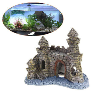 Polyresin-Tower-Castle-Aquarium-Ornament-Fish-Tank-Decoration-Accessories-New