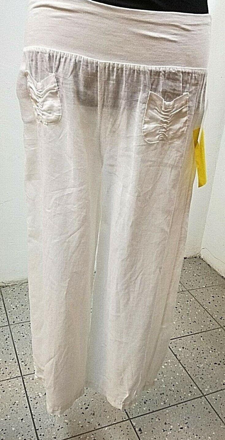 Lino  - 7 8 pantalones-Señora, Leinen, talla 36-42, sweattbund con goma, 2 bolsillos pequeños  minorista de fitness