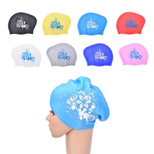 Women swimming caps Silicone Long Hair Girls Waterproof Swimming Cap Ear Cup HGU